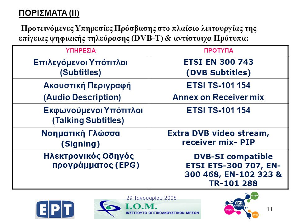 11 ΠΟΡΙΣΜΑΤΑ (ΙΙ) Προτεινόμενες Υπηρεσίες Πρόσβασης στο πλαίσιο λειτουργίας της επίγειας ψηφιακής τηλεόρασης (DVB-T) & αντίστοιχα Πρότυπα: 29 Ιανουαρί