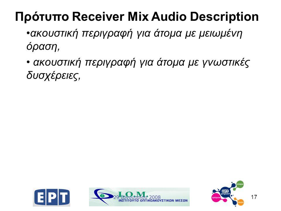 17 Πρότυπο Receiver Mix Audio Description ακουστική περιγραφή για άτομα με μειωμένη όραση, ακουστική περιγραφή για άτομα με γνωστικές δυσχέρειες, 29 Ι