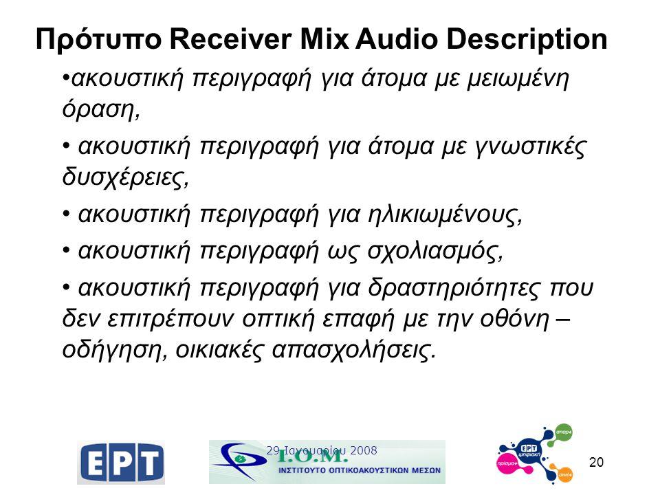 20 Πρότυπο Receiver Mix Audio Description ακουστική περιγραφή για άτομα με μειωμένη όραση, ακουστική περιγραφή για άτομα με γνωστικές δυσχέρειες, ακου