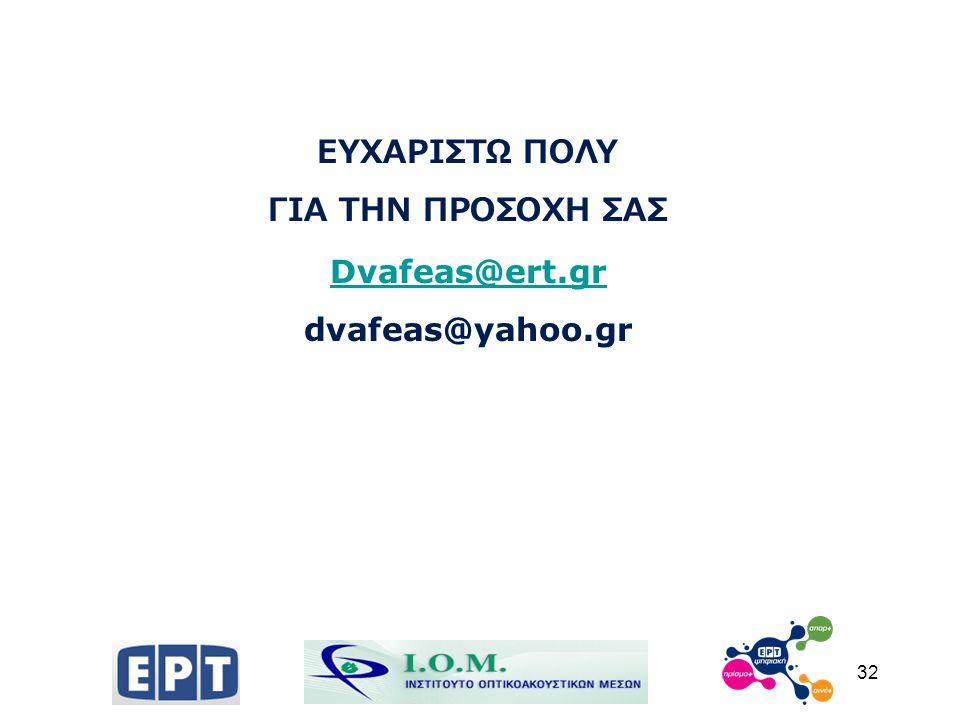 32 ΕΥΧΑΡΙΣΤΩ ΠΟΛΥ ΓΙΑ ΤΗΝ ΠΡΟΣΟΧΗ ΣΑΣ Dvafeas@ert.gr dvafeas@yahoo.gr