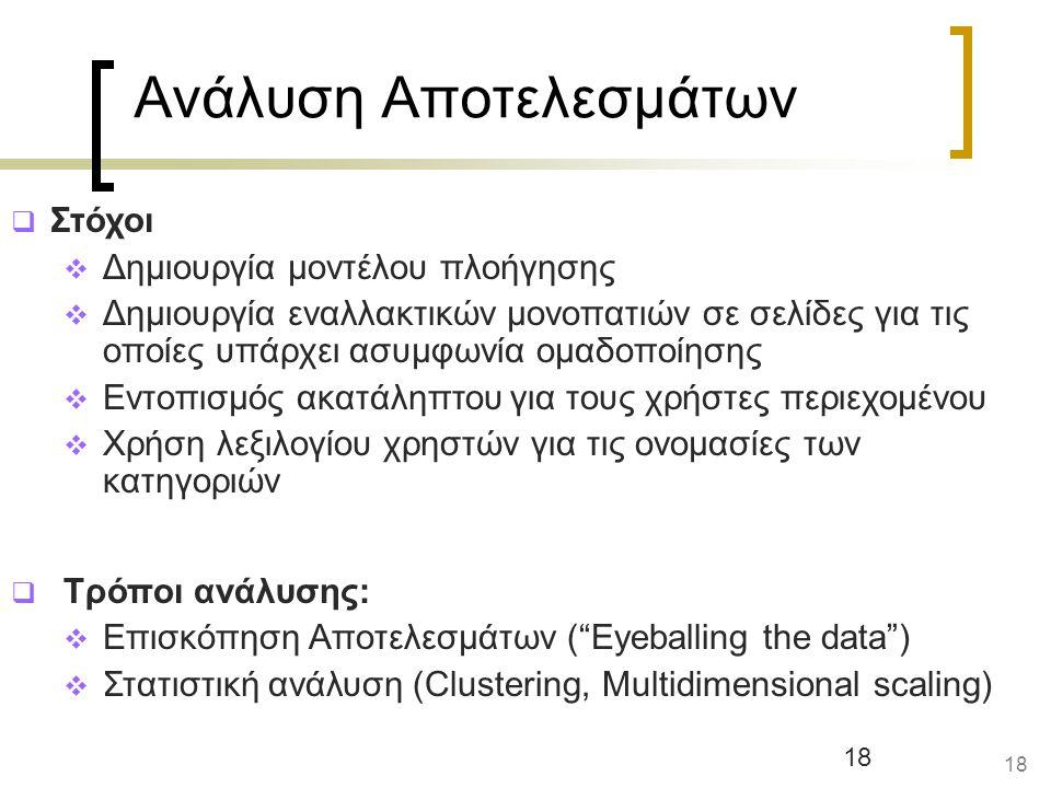 18 Ανάλυση Αποτελεσμάτων  Στόχοι  Δημιουργία μοντέλου πλοήγησης  Δημιουργία εναλλακτικών μονοπατιών σε σελίδες για τις οποίες υπάρχει ασυμφωνία ομαδοποίησης  Εντοπισμός ακατάληπτου για τους χρήστες περιεχομένου  Χρήση λεξιλογίου χρηστών για τις ονομασίες των κατηγοριών  Τρόποι ανάλυσης:  Επισκόπηση Αποτελεσμάτων ( Eyeballing the data )  Στατιστική ανάλυση (Clustering, Multidimensional scaling) 18