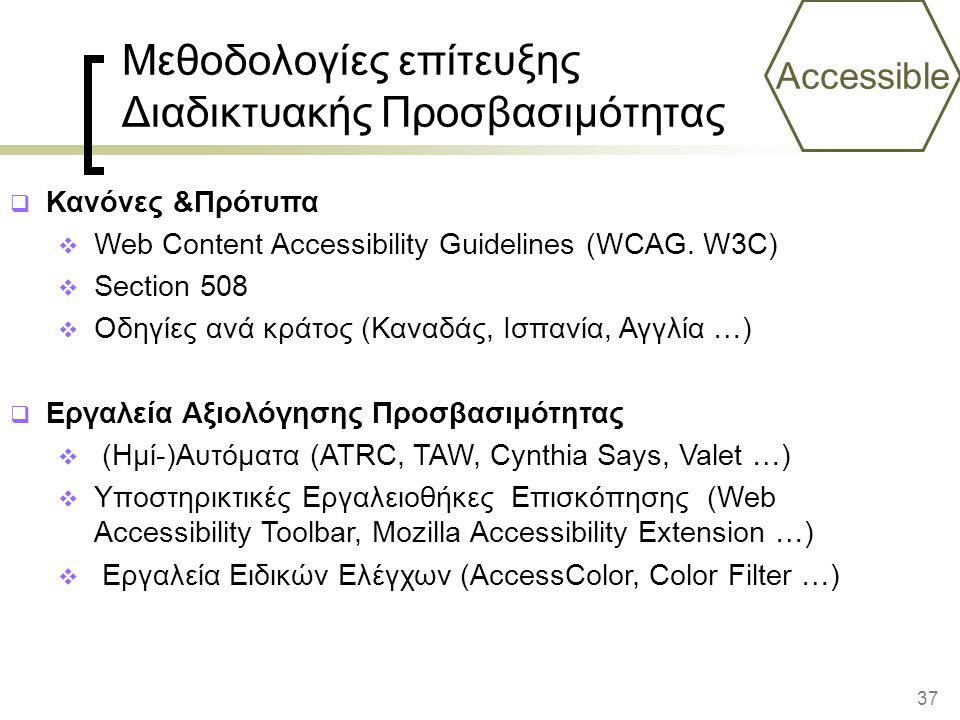 37 Accessible Μεθοδολογίες επίτευξης Διαδικτυακής Προσβασιμότητας  Κανόνες &Πρότυπα  Web Content Accessibility Guidelines (WCAG.