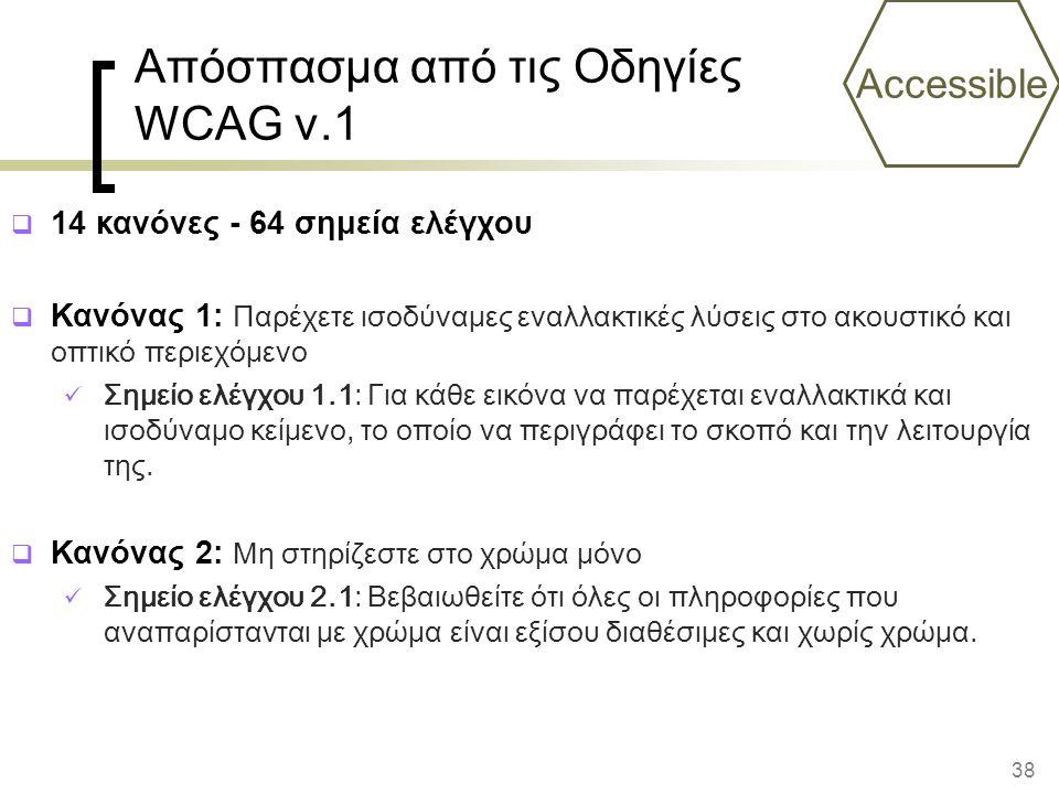 38 Απόσπασμα από τις Οδηγίες WCAG v.1  14 κανόνες - 64 σημεία ελέγχου  Κανόνας 1: Παρέχετε ισοδύναμες εναλλακτικές λύσεις στο ακουστικό και οπτικό περιεχόμενο Σημείο ελέγχου 1.1: Για κάθε εικόνα να παρέχεται εναλλακτικά και ισοδύναμο κείμενο, το οποίο να περιγράφει το σκοπό και την λειτουργία της.
