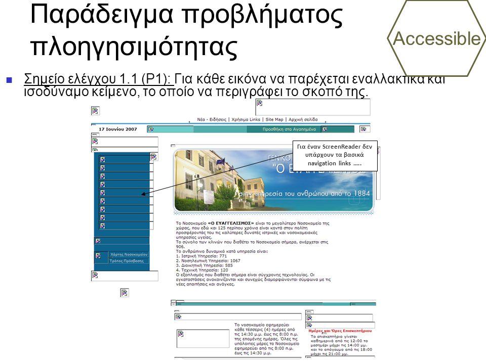 Παράδειγμα προβλήματος πλοηγησιμότητας Σημείο ελέγχου 1.1 (P1): Για κάθε εικόνα να παρέχεται εναλλακτικά και ισοδύναμο κείμενο, το οποίο να περιγράφει το σκοπό της.