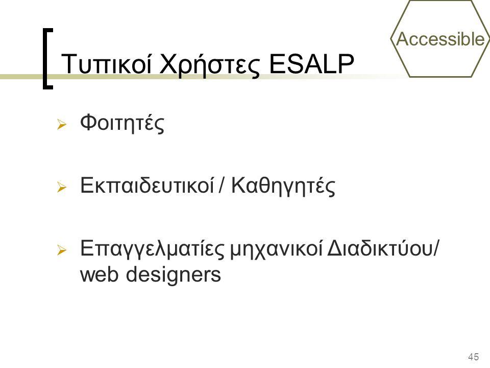 45 Τυπικοί Χρήστες ESALP  Φοιτητές  Εκπαιδευτικοί / Καθηγητές  Επαγγελματίες μηχανικοί Διαδικτύου/ web designers Accessible