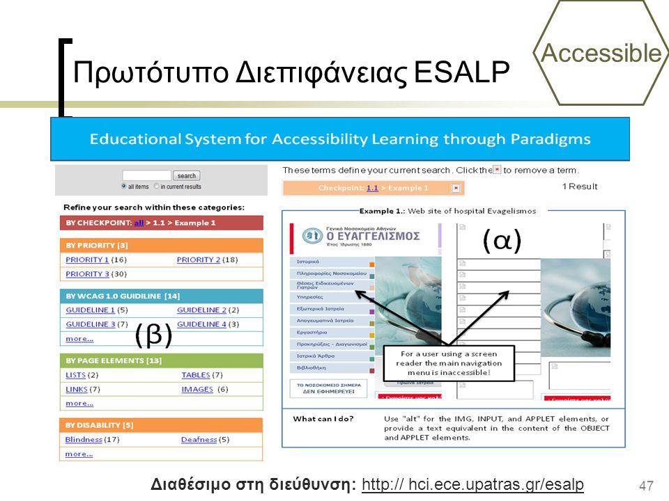 47 Πρωτότυπο Διεπιφάνειας ESALP Accessible Διαθέσιμο στη διεύθυνση: http:// hci.ece.upatras.gr/esalp
