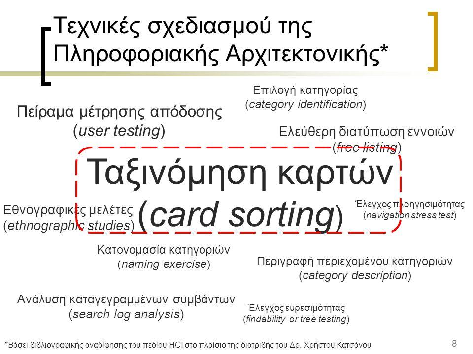 8 Τεχνικές σχεδιασμού της Πληροφοριακής Αρχιτεκτονικής* Ταξινόμηση καρτών (card sorting ) Ελεύθερη διατύπωση εννοιών (free listing) Έλεγχος ευρεσιμότητας (findability or tree testing) Έλεγχος πλοηγησιμότητας (navigation stress test) Επιλογή κατηγορίας (category identification) Περιγραφή περιεχομένου κατηγοριών (category description) Κατονομασία κατηγοριών (naming exercise) Ανάλυση καταγεγραμμένων συμβάντων (search log analysis) Εθνογραφικές μελέτες (ethnographic studies) Πείραμα μέτρησης απόδοσης (user testing) *Βάσει βιβλιογραφικής αναδίφησης του πεδίου HCI στο πλαίσιο της διατριβής του Δρ.