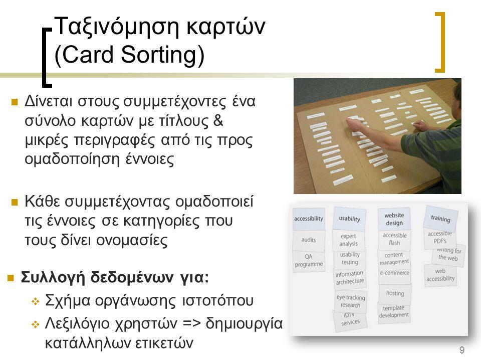 9 Ταξινόμηση καρτών (Card Sorting) Δίνεται στους συμμετέχοντες ένα σύνολο καρτών με τίτλους & μικρές περιγραφές από τις προς ομαδοποίηση έννοιες Κάθε συμμετέχοντας ομαδοποιεί τις έννοιες σε κατηγορίες που τους δίνει ονομασίες Συλλογή δεδομένων για:  Σχήμα οργάνωσης ιστοτόπου  Λεξιλόγιο χρηστών => δημιουργία κατάλληλων ετικετών