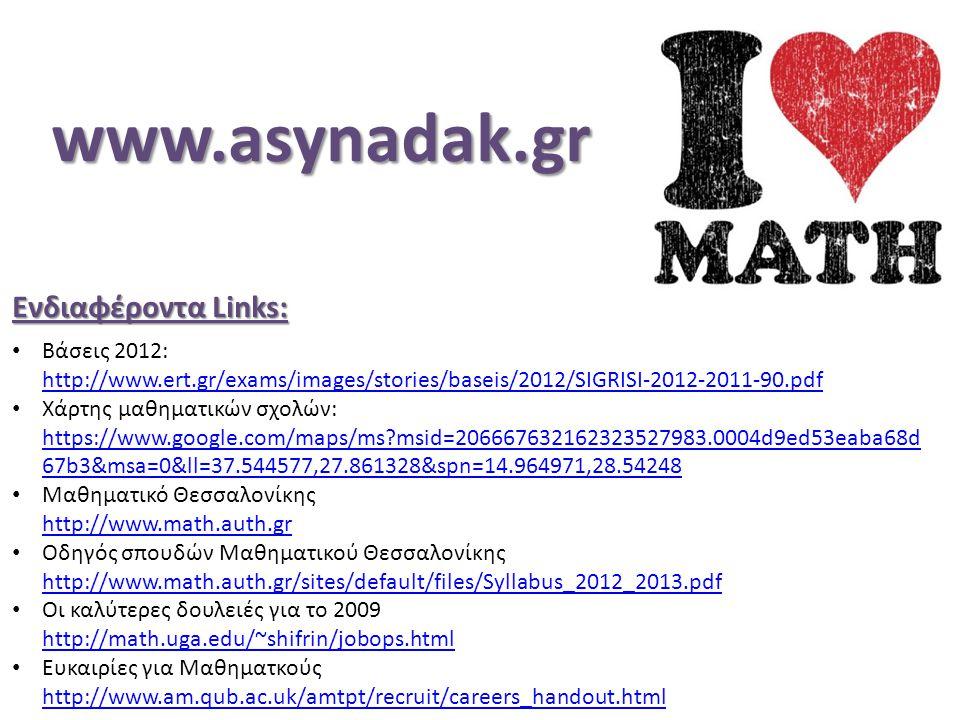Ενδιαφέροντα Links: Βάσεις 2012: http://www.ert.gr/exams/images/stories/baseis/2012/SIGRISI-2012-2011-90.pdf http://www.ert.gr/exams/images/stories/baseis/2012/SIGRISI-2012-2011-90.pdf Χάρτης μαθηματικών σχολών: https://www.google.com/maps/ms?msid=206667632162323527983.0004d9ed53eaba68d 67b3&msa=0&ll=37.544577,27.861328&spn=14.964971,28.54248 https://www.google.com/maps/ms?msid=206667632162323527983.0004d9ed53eaba68d 67b3&msa=0&ll=37.544577,27.861328&spn=14.964971,28.54248 Μαθηματικό Θεσσαλονίκης http://www.math.auth.gr http://www.math.auth.gr Οδηγός σπουδών Μαθηματικού Θεσσαλονίκης http://www.math.auth.gr/sites/default/files/Syllabus_2012_2013.pdf http://www.math.auth.gr/sites/default/files/Syllabus_2012_2013.pdf Οι καλύτερες δουλειές για το 2009 http://math.uga.edu/~shifrin/jobops.html http://math.uga.edu/~shifrin/jobops.html Ευκαιρίες για Μαθηματκούς http://www.am.qub.ac.uk/amtpt/recruit/careers_handout.html http://www.am.qub.ac.uk/amtpt/recruit/careers_handout.htmlwww.asynadak.gr