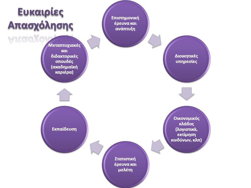 Επιστημονική έρευνα και ανάπτυξη Διοικητικές υπηρεσίες Οικονομικός κλάδος (λογιστικά, εκτίμηση κινδύνων, κλπ) Στατιστική έρευνα και μελέτη Εκπαίδευση Μεταπτυχιακές και διδακτορικές σπουδές (ακαδημαϊκή καριέρα)