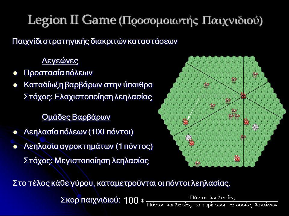 Legion II Game (Προσομοιωτής Παιχνιδιού) Λεγεώνες Προστασία πόλεων Προστασία πόλεων Καταδίωξη βαρβάρων στην ύπαιθρο Καταδίωξη βαρβάρων στην ύπαιθρο Στόχος: Ελαχιστοποίηση λεηλασίας Παιχνίδι στρατηγικής διακριτών καταστάσεων Ομάδες Βαρβάρων Λεηλασία πόλεων (100 πόντοι) Λεηλασία πόλεων (100 πόντοι) Λεηλασία αγροκτημάτων (1 πόντος) Λεηλασία αγροκτημάτων (1 πόντος) Στόχος: Μεγιστοποίηση λεηλασίας Στο τέλος κάθε γύρου, καταμετρούνται οι πόντοι λεηλασίας.