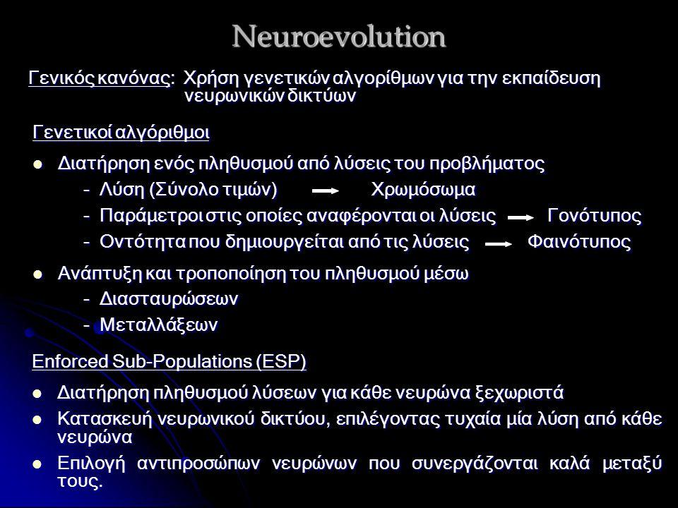 Neuroevolution Γενικός κανόνας: Χρήση γενετικών αλγορίθμων για την εκπαίδευση νευρωνικών δικτύων Γενετικοί αλγόριθμοι Διατήρηση ενός πληθυσμού από λύσεις του προβλήματος Διατήρηση ενός πληθυσμού από λύσεις του προβλήματος - Λύση (Σύνολο τιμών)Χρωμόσωμα - Λύση (Σύνολο τιμών)Χρωμόσωμα - Παράμετροι στις οποίες αναφέρονται οι λύσεις Γονότυπος - Παράμετροι στις οποίες αναφέρονται οι λύσεις Γονότυπος - Οντότητα που δημιουργείται από τις λύσεις Φαινότυπος - Οντότητα που δημιουργείται από τις λύσεις Φαινότυπος Ανάπτυξη και τροποποίηση του πληθυσμού μέσω Ανάπτυξη και τροποποίηση του πληθυσμού μέσω - Διασταυρώσεων - Διασταυρώσεων - Μεταλλάξεων - Μεταλλάξεων Enforced Sub-Populations (ESP) Διατήρηση πληθυσμού λύσεων για κάθε νευρώνα ξεχωριστά Διατήρηση πληθυσμού λύσεων για κάθε νευρώνα ξεχωριστά Κατασκευή νευρωνικού δικτύου, επιλέγοντας τυχαία μία λύση από κάθε νευρώνα Κατασκευή νευρωνικού δικτύου, επιλέγοντας τυχαία μία λύση από κάθε νευρώνα Επιλογή αντιπροσώπων νευρώνων που συνεργάζονται καλά μεταξύ τους.