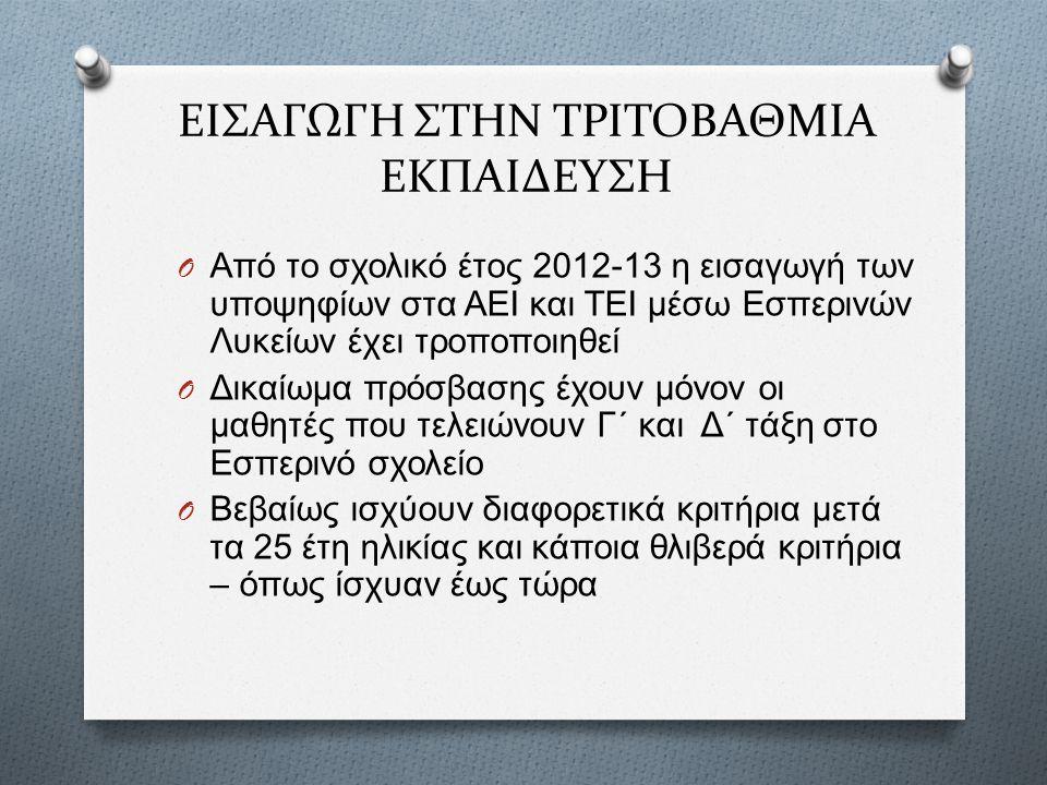 ΕΙΣΑΓΩΓΗ ΣΤΗΝ ΤΡΙΤΟΒΑΘΜΙΑ ΕΚΠΑΙΔΕΥΣΗ O Από το σχολικό έτος 2012-13 η εισαγωγή των υποψηφίων στα ΑΕΙ και ΤΕΙ μέσω Εσπερινών Λυκείων έχει τροποποιηθεί O