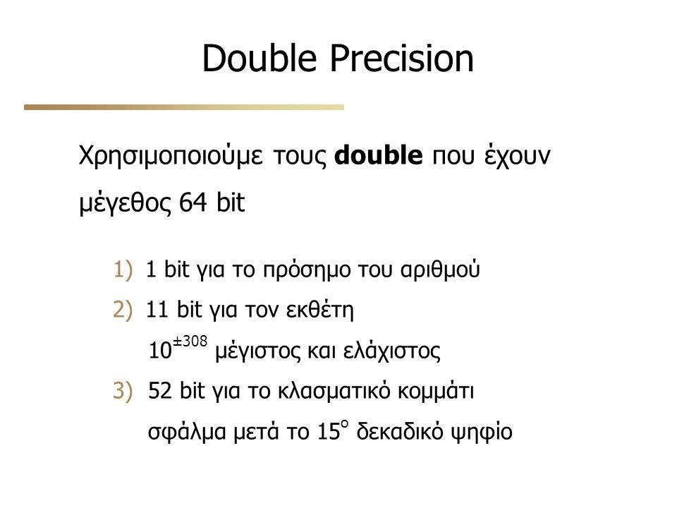 Double Precision Χρησιμοποιούμε τους double που έχουν μέγεθος 64 bit 1) 1 bit για το πρόσημο του αριθμού 2) 11 bit για τον εκθέτη 10 ±308 μέγιστος και ελάχιστος 3) 52 bit για το κλασματικό κομμάτι σφάλμα μετά το 15 ο δεκαδικό ψηφίο