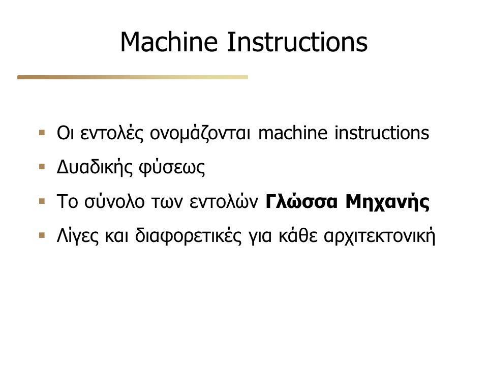 Machine Instructions  Οι εντολές ονομάζονται machine instructions  Δυαδικής φύσεως  Το σύνολο των εντολών Γλώσσα Μηχανής  Λίγες και διαφορετικές για κάθε αρχιτεκτονική