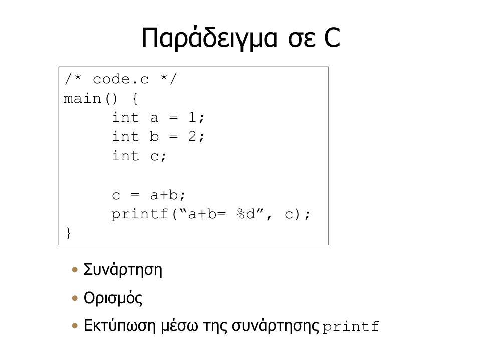 Παράδειγμα σε C /* code.c */ main() { int a = 1; int b = 2; int c; c = a+b; printf( a+b= %d , c); } Συνάρτηση Ορισμός Εκτύπωση μέσω της συνάρτησης printf