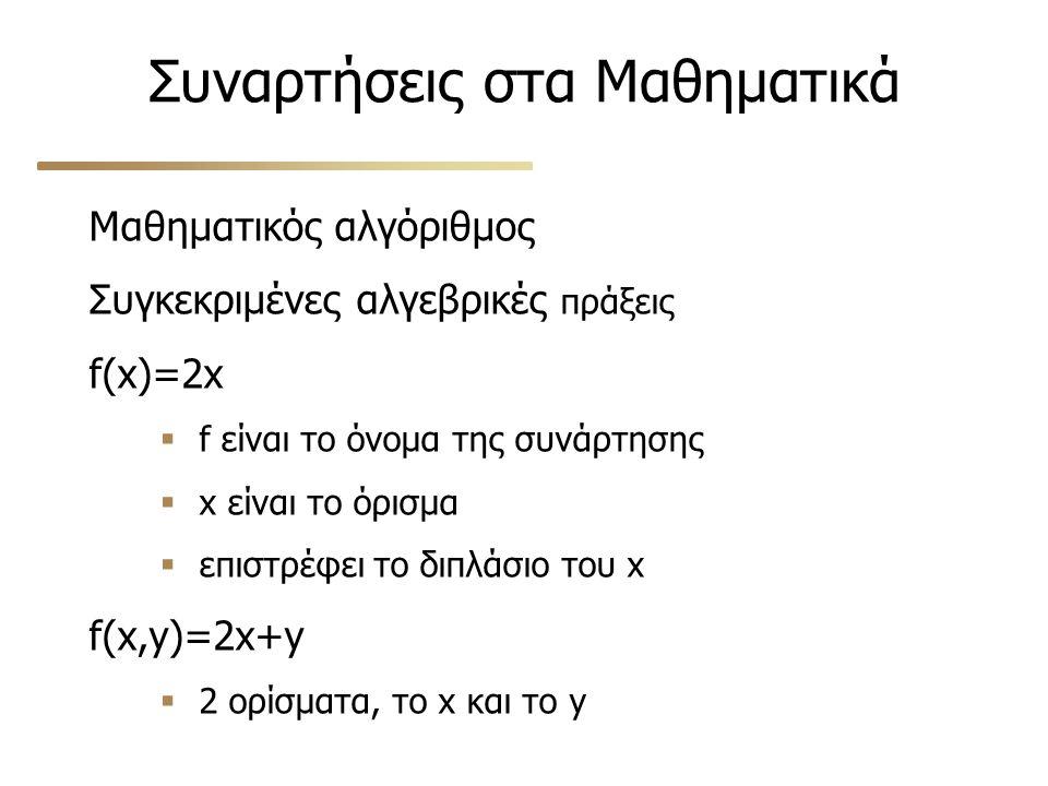 Συναρτήσεις στα Μαθηματικά Μαθηματικός αλγόριθμος Συγκεκριμένες αλγεβρικές πράξεις f(x)=2x  f είναι το όνομα της συνάρτησης  x είναι το όρισμα  επι