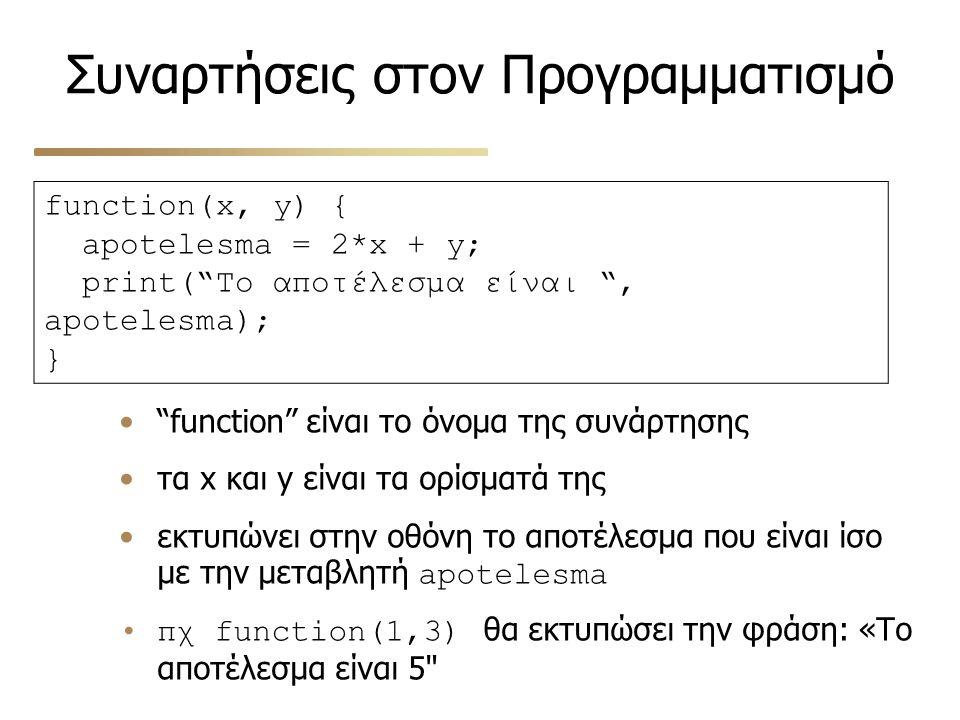 """Συναρτήσεις στον Προγραμματισμό function(x, y) { apotelesma = 2*x + y; print(""""Το αποτέλεσμα είναι """", apotelesma); } """"function"""" είναι το όνομα της συνά"""