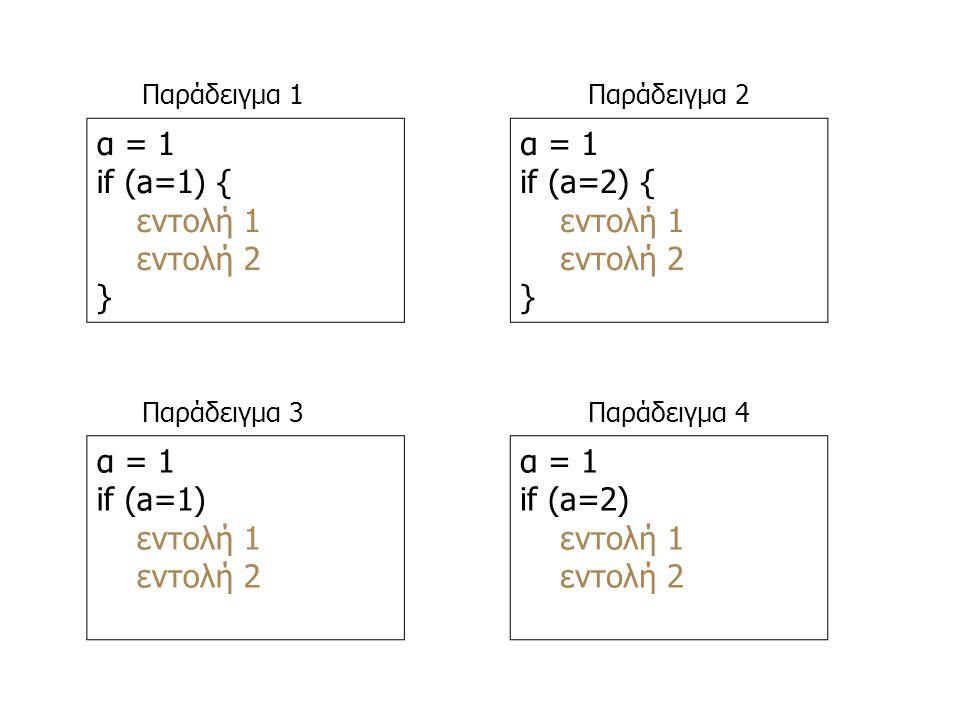 α = 1 if (a=1) { εντολή 1 εντολή 2 } α = 1 if (a=2) { εντολή 1 εντολή 2 } α = 1 if (a=1) εντολή 1 εντολή 2 α = 1 if (a=2) εντολή 1 εντολή 2 Παράδειγμα 1 Παράδειγμα 3 Παράδειγμα 2 Παράδειγμα 4