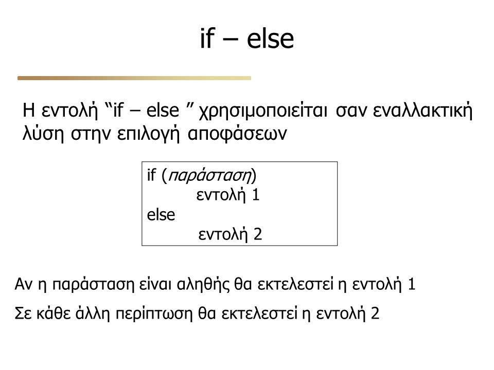 if – else Η εντολή if – else χρησιμοποιείται σαν εναλλακτική λύση στην επιλογή αποφάσεων if (παράσταση) εντολή 1 else εντολή 2 Αν η παράσταση είναι αληθής θα εκτελεστεί η εντολή 1 Σε κάθε άλλη περίπτωση θα εκτελεστεί η εντολή 2