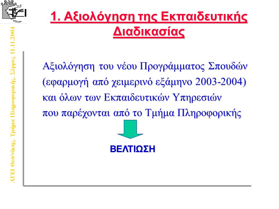 ΑΤΕΙ Θεσ/νίκης, Τμήμα Πληροφορικής, Σέρρες 11.11.2004 1.