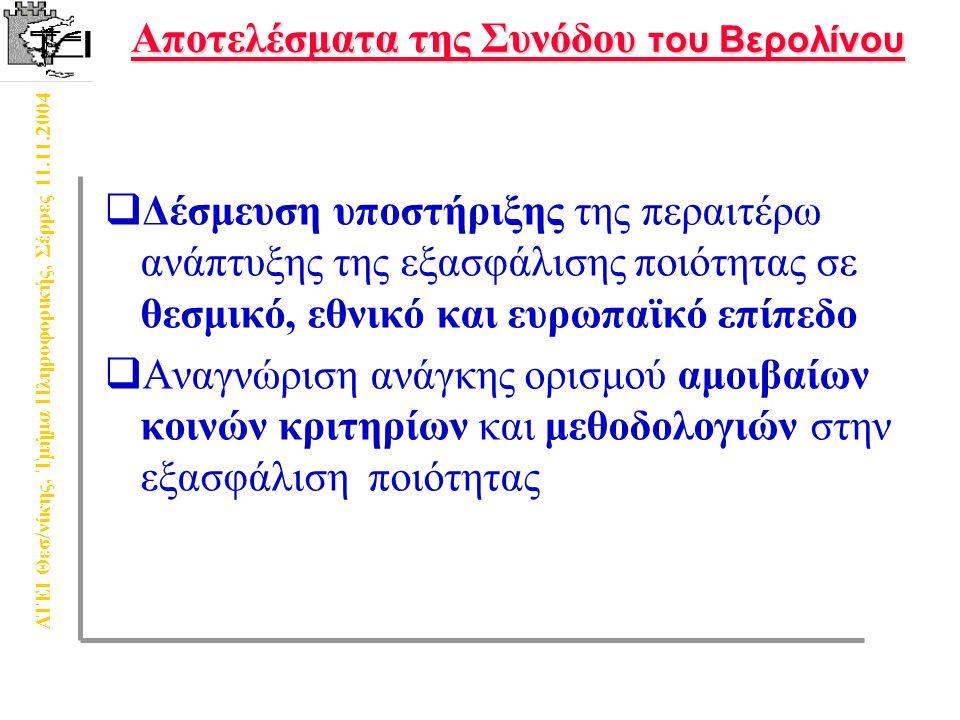 ΑΤΕΙ Θεσ/νίκης, Τμήμα Πληροφορικής, Σέρρες 11.11.2004 Σύστημα Ποιότητας Αποτελέσματα Αξιολόγησης Διερεύνηση Βάσεων Δεδομένων «Τυπικός φοιτητής» Επί τόπου παρατηρήσεις ΣυνεντεύξειςΕρωτηματολόγια Σχέση Αξιολόγησης – Σύστημα Ποιότητας