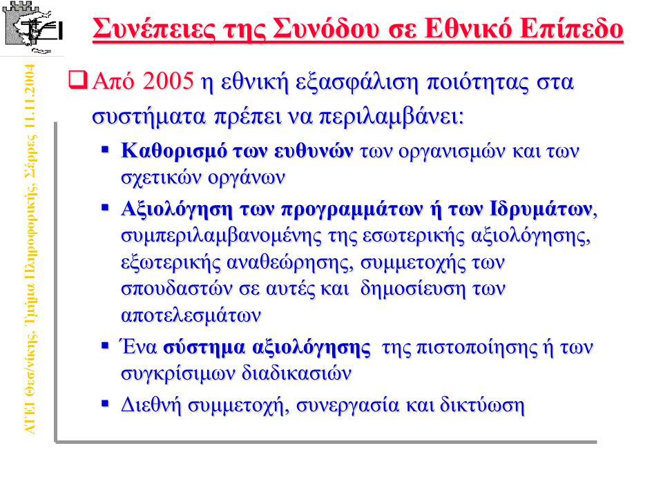 ΑΤΕΙ Θεσ/νίκης, Τμήμα Πληροφορικής, Σέρρες 11.11.2004 Η έννοια της ποιότητας στην εκπαίδευση  Σύνολο χαρακτηριστικών μιας οντότητας που ικανοποιεί εκφρασμένες και συνεπαγόμενες ανάγκες (ΕΛΟΤ)  Φοιτητών  Αγοράς Εργασίας  Κοινωνικού Συνόλου  Η πολυδιάστατη έννοια της ποιότητας στην ανώτατη εκπαίδευση – εκπαιδευτικές λειτουργίες και δραστηριότητες  Ποιότητα διδασκαλίας  Ποιότητα προγραμμάτων σπουδών  Ποιότητα υλικό-τεχνικής υποδομής  Ποιότητα έρευνας