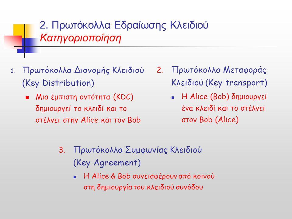 2. Πρωτόκολλα Εδραίωσης Κλειδιού Κατηγοριοποίηση 1. Πρωτόκολλα Διανομής Κλειδιού (Key Distribution) Μια έμπιστη οντότητα (KDC) δημιουργεί το κλειδί κα
