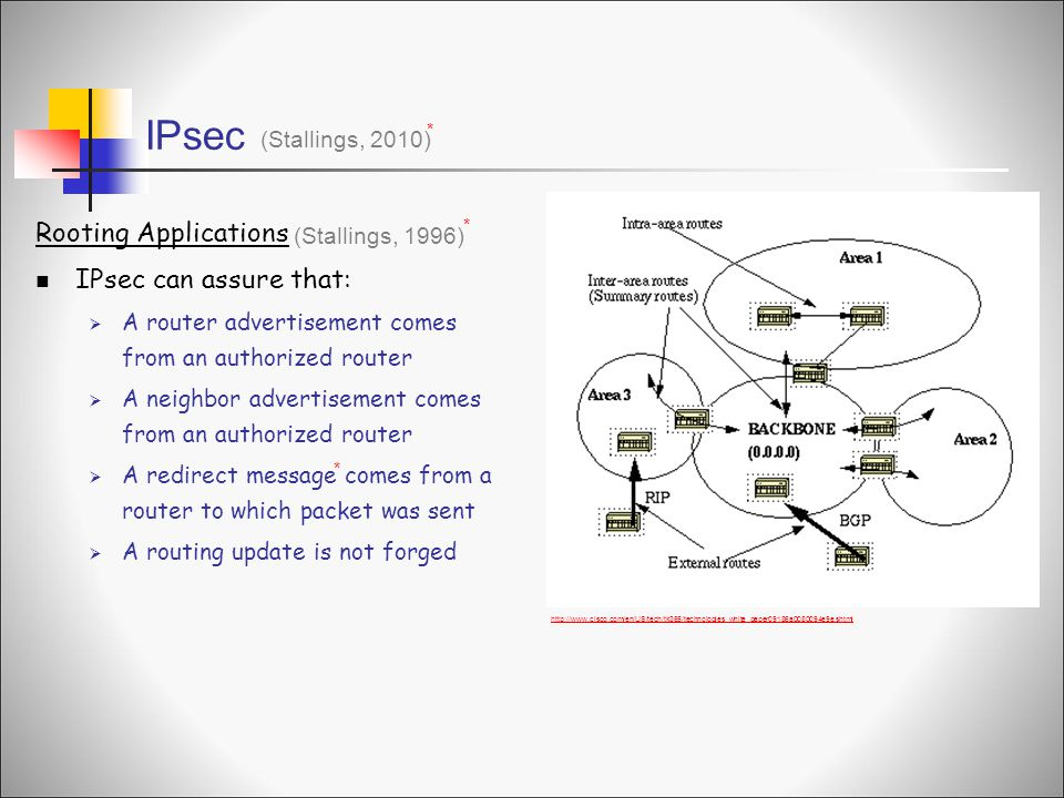 IPsec (Stallings, 2010) * Rooting Applications IPsec can assure that:  A router advertisement comes from an authorized router  A neighbor advertisement comes from an authorized router  A redirect message comes from a router to which packet was sent  A routing update is not forged (Stallings, 1996) * * http://www.cisco.com/en/US/tech/tk365/technologies_white_paper09186a0080094e9e.shtml