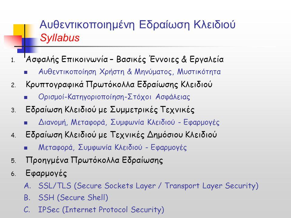 Αυθεντικοποιημένη Εδραίωση Κλειδιού Syllabus 1. Ασφαλής Επικοινωνία – Βασικές Έννοιες & Εργαλεία Αυθεντικοποίηση Χρήστη & Μηνύματος, Μυστικότητα 2. Κρ