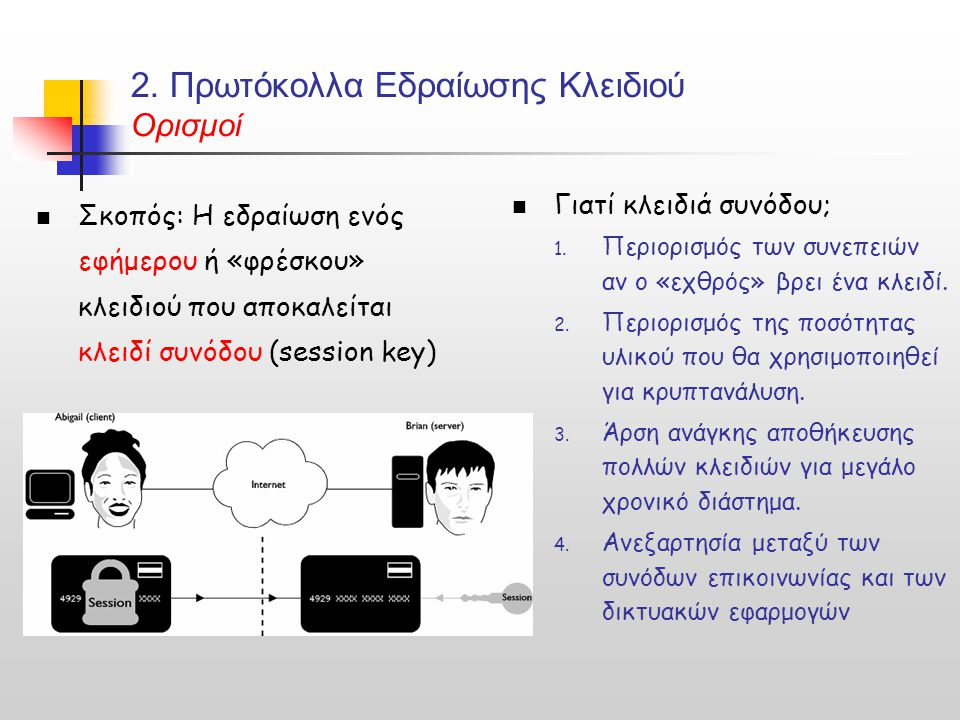 2. Πρωτόκολλα Εδραίωσης Κλειδιού Ορισμοί Σκοπός: Η εδραίωση ενός εφήμερου ή «φρέσκου» κλειδιού που αποκαλείται κλειδί συνόδου (session key) Γιατί κλει