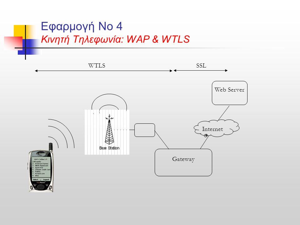Εφαρμογή Νο 4 Κινητή Τηλεφωνία: WAP & WTLS Internet Gateway Web Server WTLSSSL