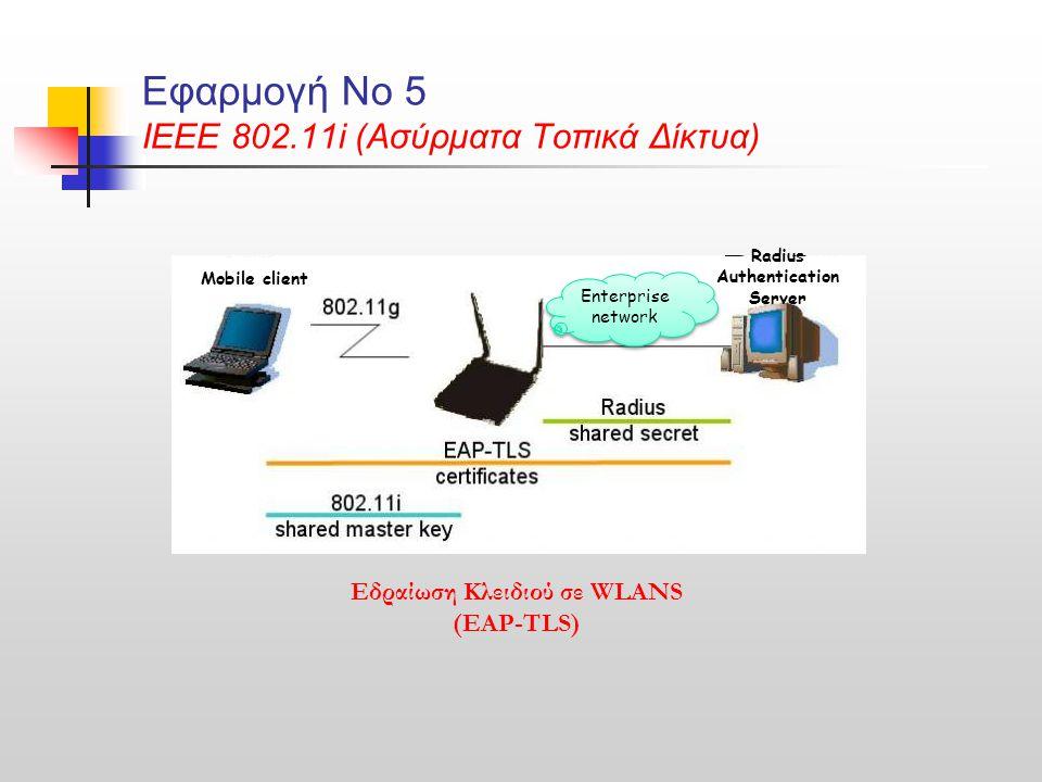Εφαρμογή Νο 5 ΙΕΕΕ 802.11i (Ασύρματα Τοπικά Δίκτυα) Εδραίωση Κλειδιού σε WLANS (EAP-TLS) Mobile client Radius Authentication Server Enterprise network