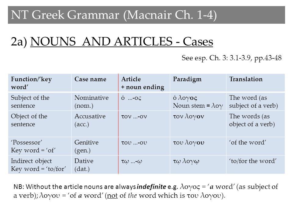 2b) NOUNS AND ARTICLES - Gender NT Greek Grammar (Macnair Ch.