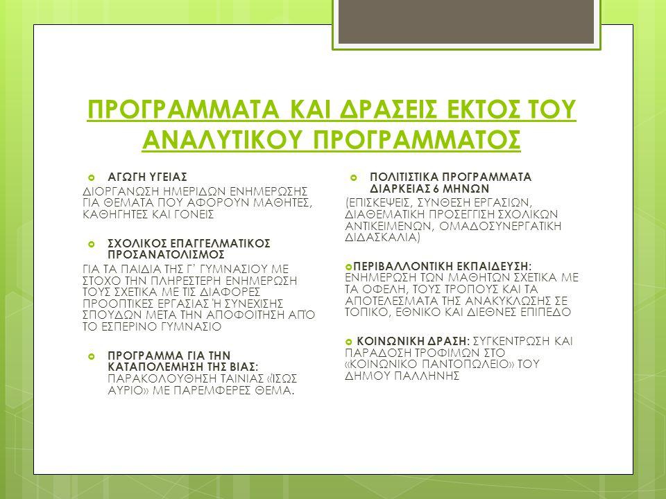 ΕΣΠΕΡΙΝΟ ΓΥΜΝΑΣΙΟ ΠΑΛΛΗΝΗΣ ΣΧΟΛΙΚΟ ΈΤΟΣ 2012- 2013