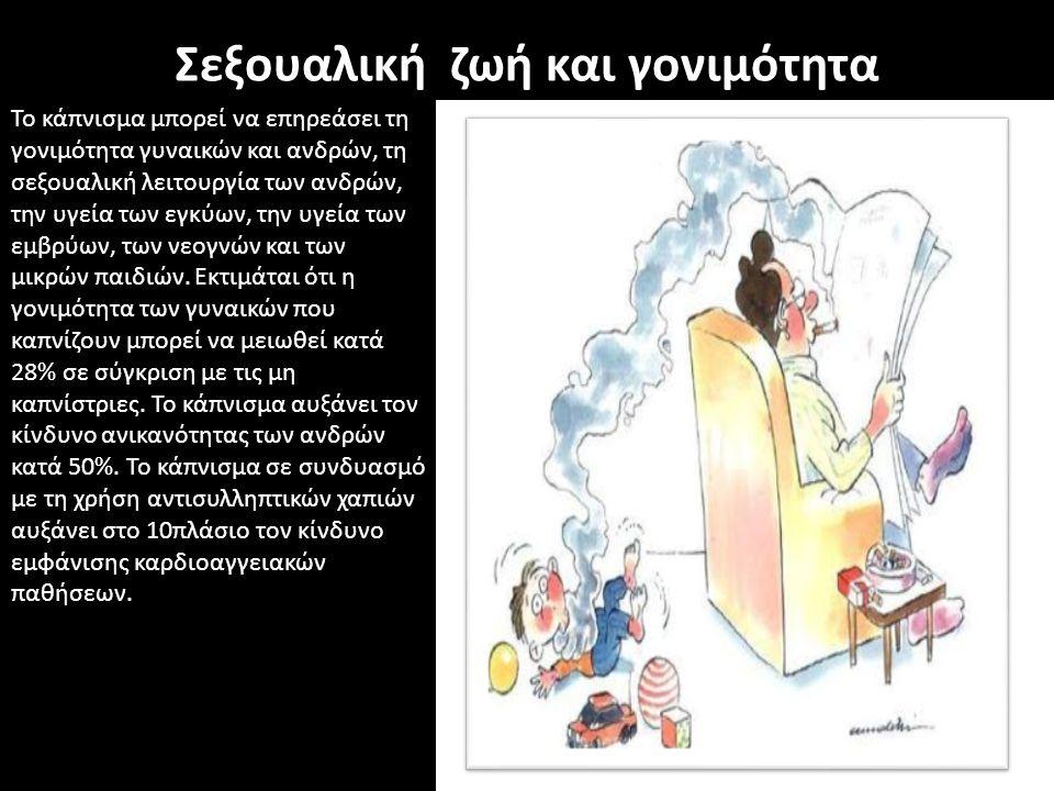 Σεξουαλική ζωή και γονιμότητα Το κάπνισμα μπορεί να επηρεάσει τη γονιμότητα γυναικών και ανδρών, τη σεξουαλική λειτουργία των ανδρών, την υγεία των εγ