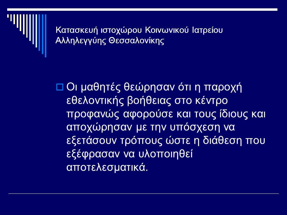 Κατασκευή ιστοχώρου Κοινωνικού Ιατρείου Αλληλεγγύης Θεσσαλονίκης  Οι μαθητές θεώρησαν ότι η παροχή εθελοντικής βοήθειας στο κέντρο προφανώς αφορούσε