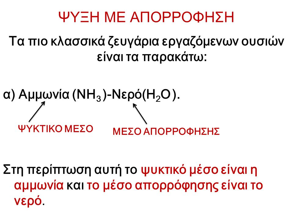ΨΥΞΗ ΜΕ ΑΠΟΡΡΟΦΗΣΗ Τα πιο κλασσικά ζευγάρια εργαζόμενων ουσιών είναι τα παρακάτω: α) Αμμωνία (NH 3 )-Νερό(H 2 O ). Στη περίπτωση αυτή το ψυκτικό μέσο