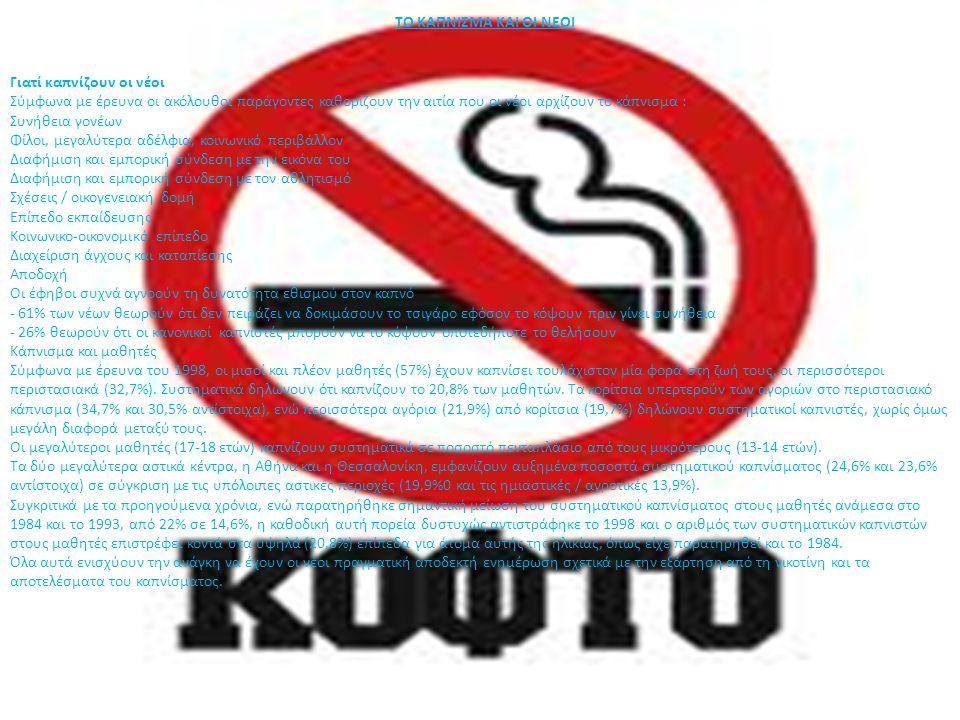 Παράγοντες που προδιαθέτουν τους νέους για κάπνισμα Ισχύουν μία σειρά από σύνθετους και ενδογενείς παράγοντες που προδιαθέτουν τους νέους να καπνίσουν και αυτοί ποικίλουν σχεδόν ανά άτομο και λαό.