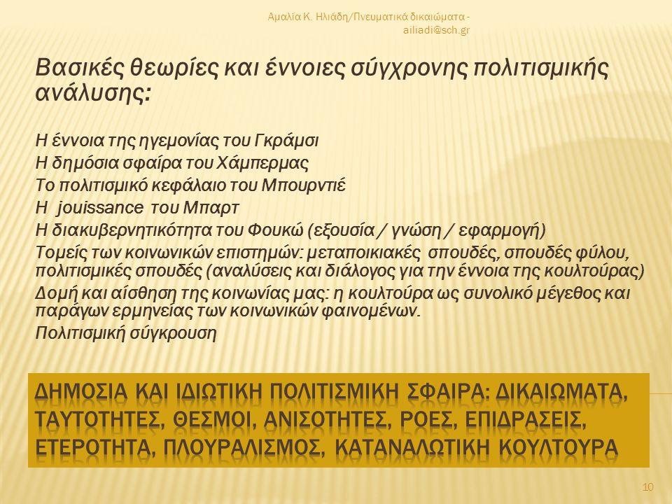  Διανοητικό σχήμα: βάση – εποικοδόμημα (μαρξιστικής σύλληψης)  Εξιδανικευμένη, ρηχή έννοια της κουλτούρας : τέχνες, πολιτιστική κληρονομιά  Μοντέλο του σοσιαλιστικού ρεαλισμού: ξεπερασμένη, ρεαλιστική απεικόνιση  Πικάσο: ρήγμα στην «πίστη» στη ρεαλιστική απεικόνιση  Κουλτούρα, οικονομία: βιοτικές προτεραιότητες και πολυτέλεια της τέχνης;  Ντετερμινισμός : πολιτιστικός πεσιμισμός  «Διαπίδυση πολιτιστικού και πραγματικού»: χαρακτηριστικό της μεταμοντέρνας εποχής που διανύουμε.