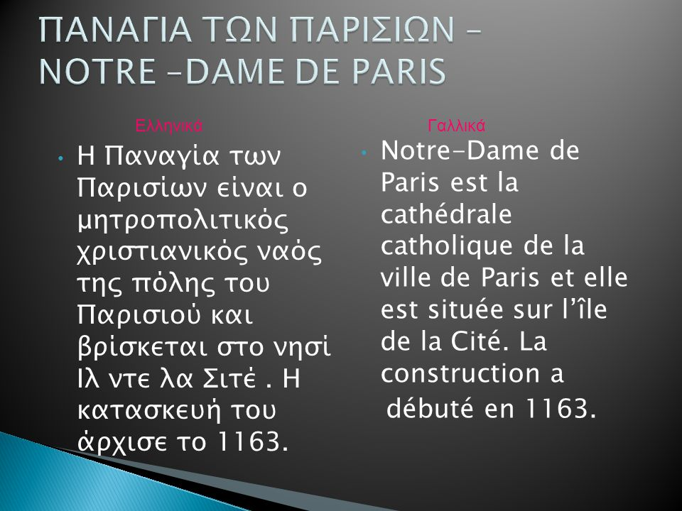Η Παναγία των Παρισίων είναι ο μητροπολιτικός χριστιανικός ναός της πόλης του Παρισιού και βρίσκεται στο νησί Ιλ ντε λα Σιτέ. Η κατασκευή του άρχισε τ