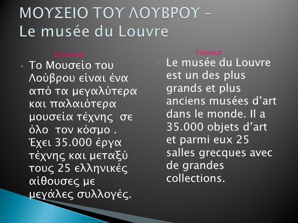Το Μουσείο του Λούβρου είναι ένα από τα μεγαλύτερα και παλαιότερα μουσεία τέχνης σε όλο τον κόσμο. Έχει 35.000 έργα τέχνης και μεταξύ τους 25 ελληνικέ