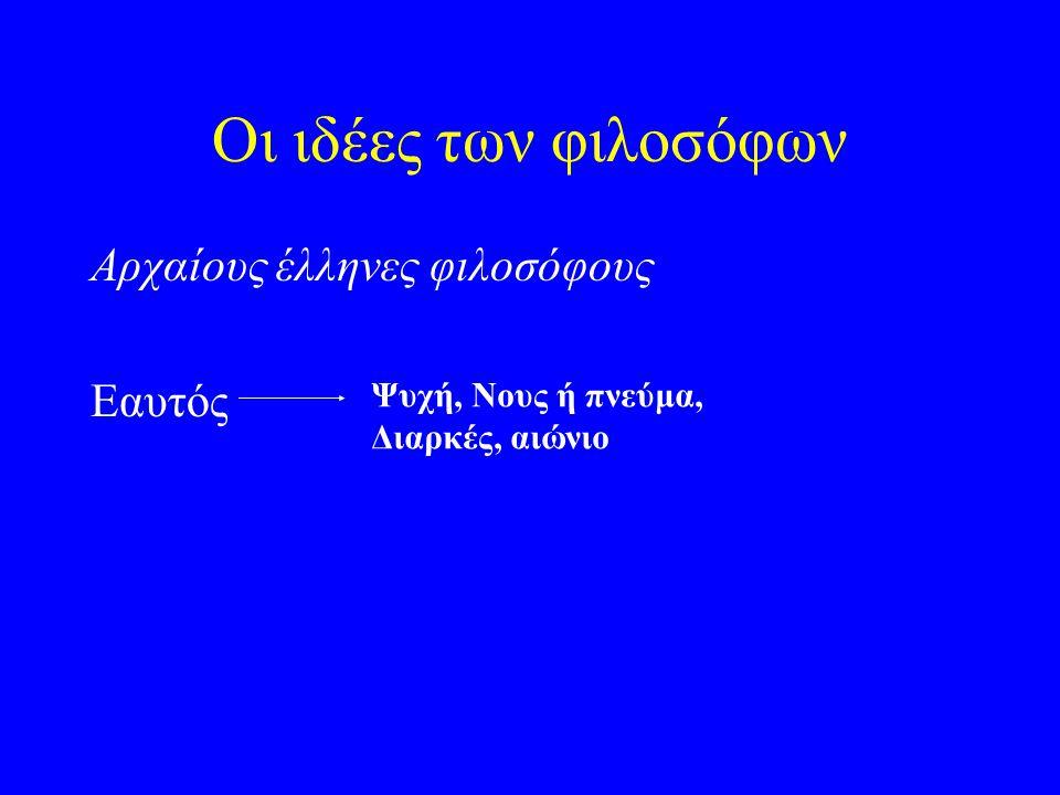 Οι ιδέες των φιλοσόφων Αρχαίους έλληνες φιλοσόφους Εαυτός Ψυχή, Νους ή πνεύμα, Διαρκές, αιώνιο
