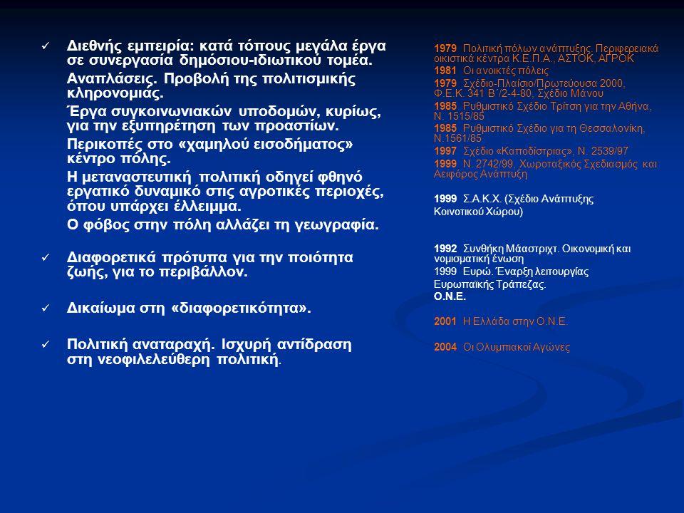 Διεθνής εμπειρία: κατά τόπους μεγάλα έργα σε συνεργασία δημόσιου-ιδιωτικού τομέα.