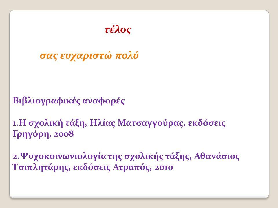 τέλος σας ευχαριστώ πολύ Βιβλιογραφικές αναφορές 1.Η σχολική τάξη, Ηλίας Ματσαγγούρας, εκδόσεις Γρηγόρη, 2008 2.Ψυχοκοινωνιολογία της σχολικής τάξης, Αθανάσιος Τσιπλητάρης, εκδόσεις Ατραπός, 2010