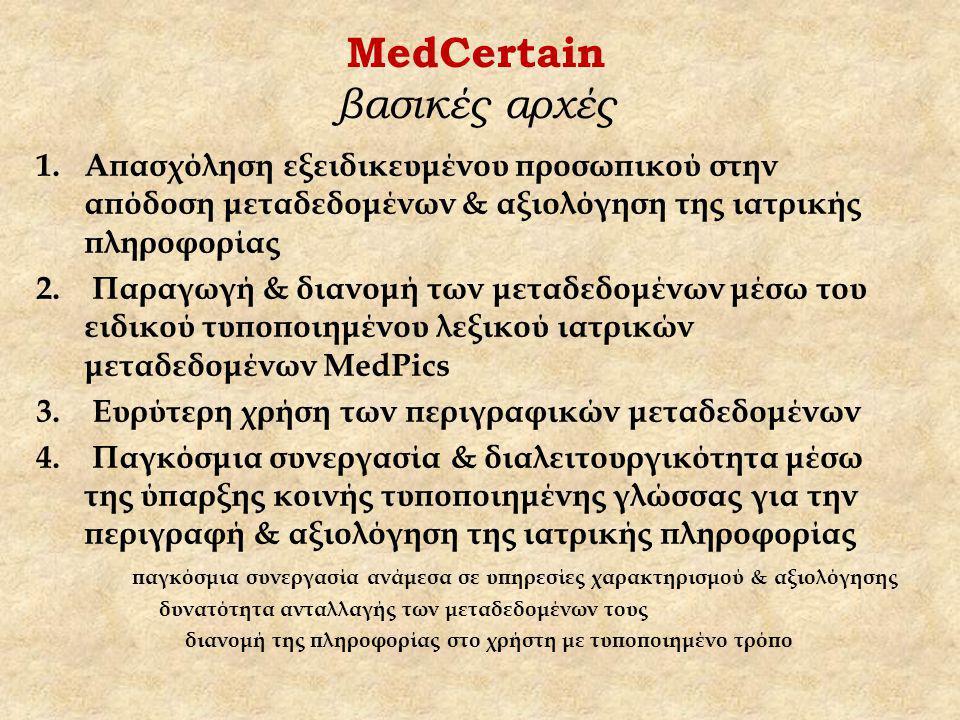 MedCertain βασικές αρχές 1.Απασχόληση εξειδικευμένου προσωπικού στην απόδοση μεταδεδομένων & αξιολόγηση της ιατρικής πληροφορίας 2.