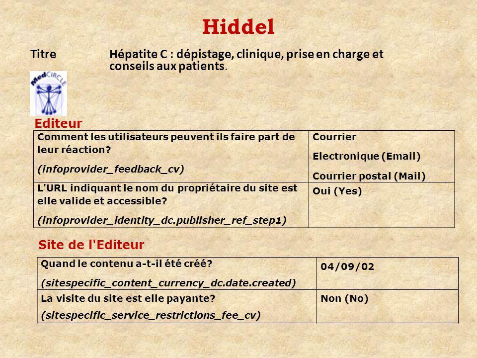 Hiddel TitreHépatite C : dépistage, clinique, prise en charge et conseils aux patients.