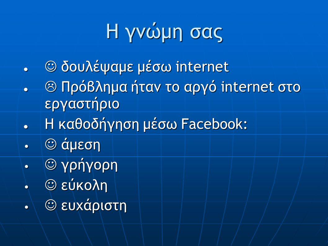 Η γνώμη σας δουλέψαμε μέσω internet δουλέψαμε μέσω internet  Πρόβλημα ήταν το αργό internet στο εργαστήριο  Πρόβλημα ήταν το αργό internet στο εργαστήριο Η καθοδήγηση μέσω Facebook: Η καθοδήγηση μέσω Facebook: άμεση άμεση γρήγορη γρήγορη εύκολη εύκολη ευχάριστη ευχάριστη