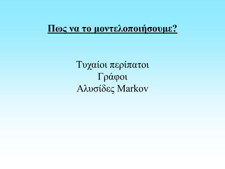 Πως να το μοντελοποιήσουμε Τυχαίοι περίπατοι Γράφοι Αλυσίδες Markov