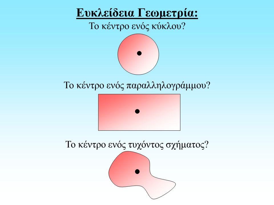 Ευκλείδεια Γεωμετρία: Το κέντρο ενός κύκλου? Το κέντρο ενός παραλληλογράμμου? Το κέντρο ενός τυχόντος σχήματος?